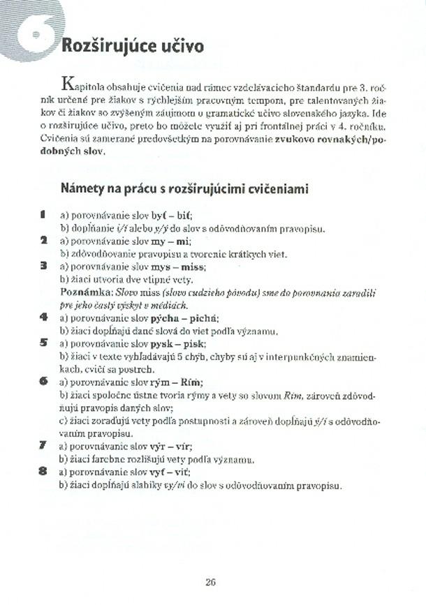 Náhľad: Metodické poznámky - Vybrané slová pre 3. roč. ZŠ (5)
