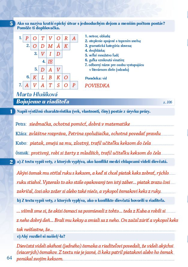 Náhľad: Zošit pre učiteľa - Pomocník z literatúry 6 ZŠ a 1 GOŠ (5)