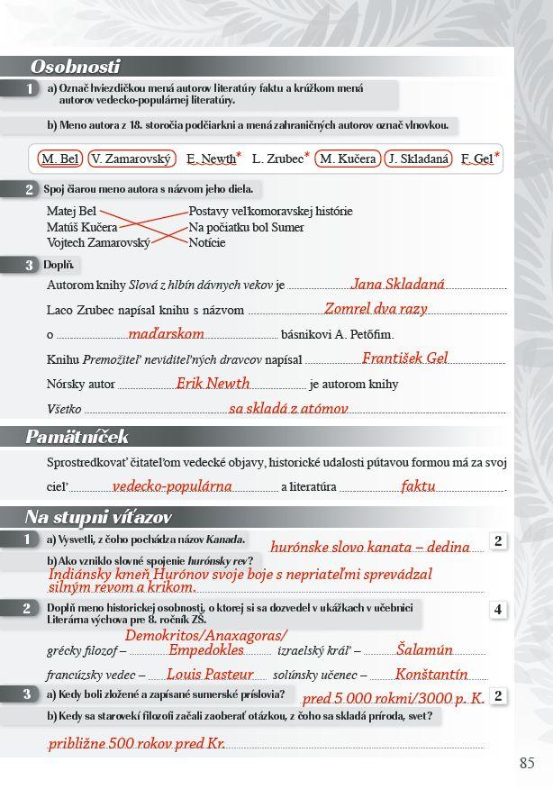 Náhľad: Zošit pre učiteľa - Pomocník z literatúry 8 ZŠ a 3 GOŠ (7)