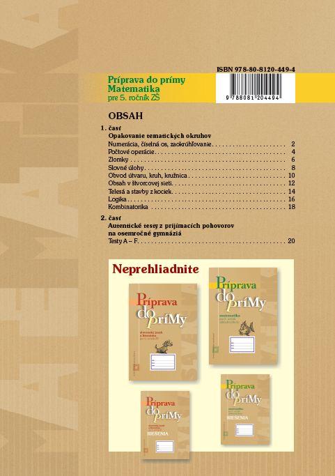 Náhľad: Príprava do prímy z matematiky pre 5. ročník ZŠ (2)