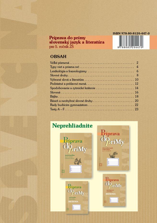 Náhľad: Príprava do prímy zo SJ a literatúry pre 5. roč. (2)