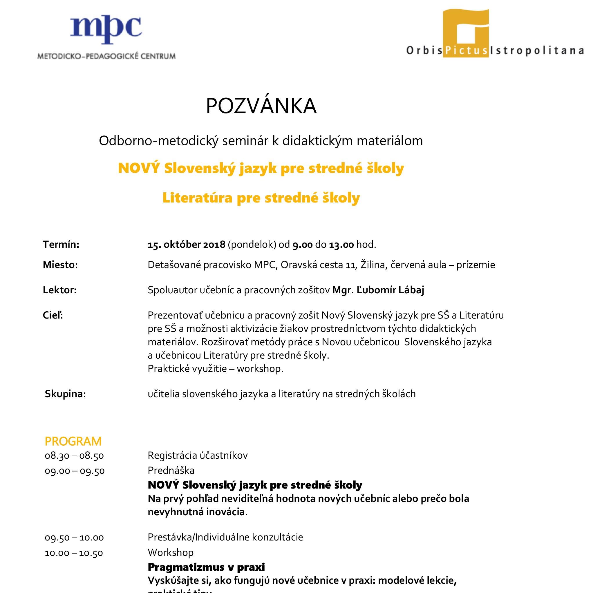 Pozvánka na seminár Žilina